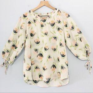 Lauren Conrad loose fitting floral career blouse